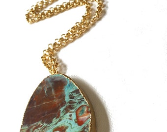 Large Turquoise Pendant with Gold Chain