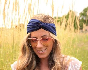 BUY 2 GET 1 FREE!!  Navy Blue Jersey Headband, Jersey Twist Headband, boho Hair band, Twist Headband, Twist Headwrap, knot headband