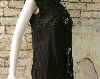 Post apocalyptic black leather top shredded distressed tattered industrial rocker sleeveless 36 inch chest small