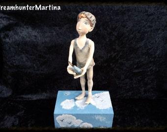 Art doll, litlle boy, paperclay, OOAK