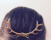 Gold Antler Hair Pin Elk Antler Hair Sculpture Gold Hunting Hair Piece Woodland Wedding Costume Hair Pin Deer Antler Hair Accessories