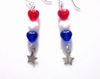 Czech Red, White & Blue Bead Earrings - #249