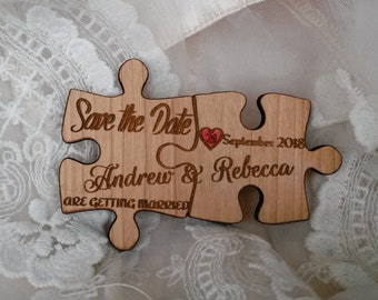 wood save the date magnet 85/ puzzle save the date / engraved save the date magnet / puzzle magnet / wedding favor puzzle