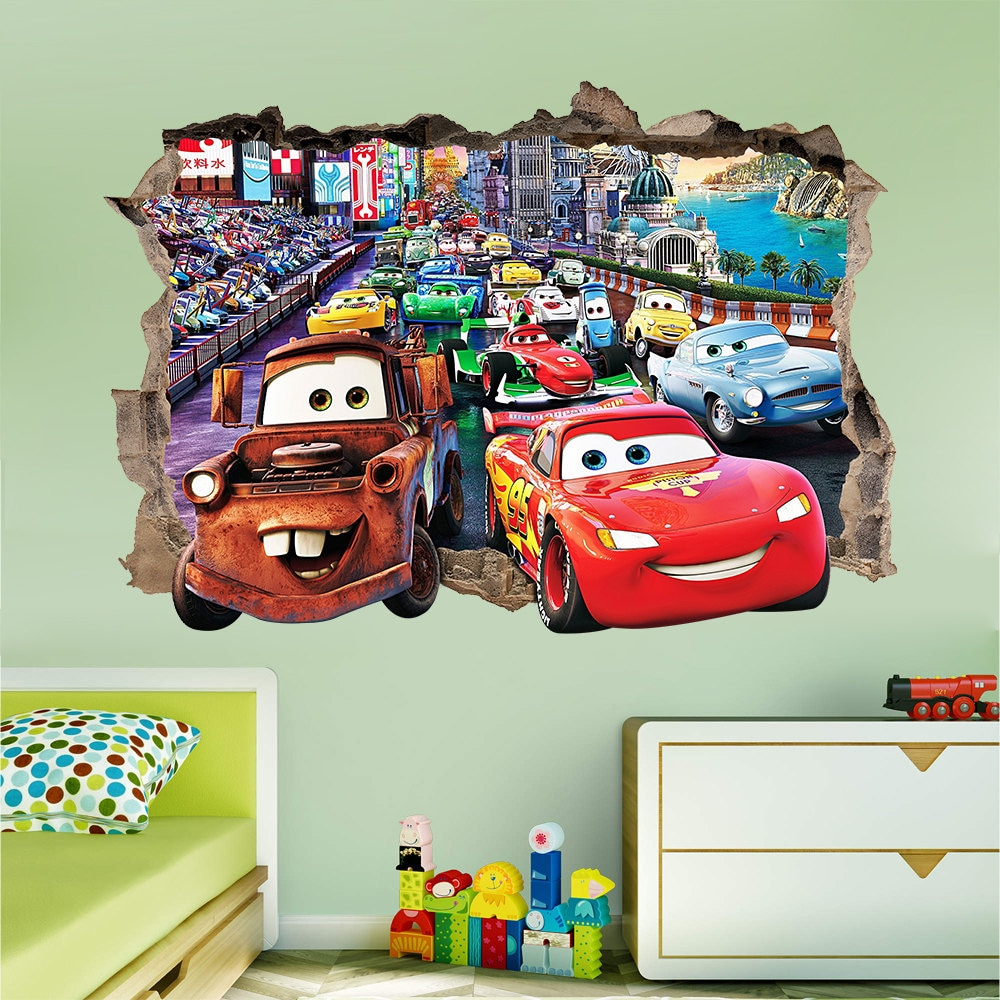 Disney cars 3d wall sticker smashed bedroom kids decor vinyl for Disney cars wall mural full wall huge