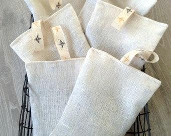 SALE - 100% Linen French Lavender Bag - Handmade French Lavender Sachet