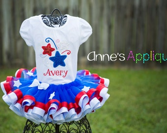 Patriotic 4th of July Red White Blue Tutu Set Custom Personalized Stars Applique