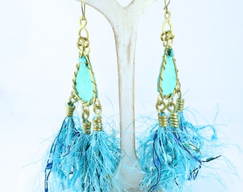 Turquoise Blue Tassel Fringe Funky Earrings