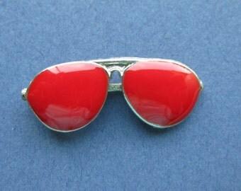 5 Sunglass Charms - Sunglass Pendants - Aviator Glasses - Aviators Charm - Enamel Aviators - Antique Silver - 29mm x 11mm - (No.10-10044)