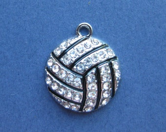 Rhinestone Volleyball Charms - Volleyball Pendant - Volleyball - Volley Ball - Sports - Rhodium Plated - 19mm x 22mm (No.35-10048)