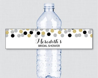 Black and Gold Bridal Shower Printable Water Bottle Labels - Black, Silver and Gold Glitter Personalized Water Bottle Labels - Gold 0001-K