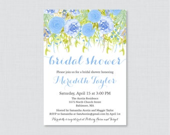 Blue Bridal Shower Invitation Printable or Printed - Blue Floral Bridal Shower Invites - Blue and Green Garden Party Shower Invitations 0013