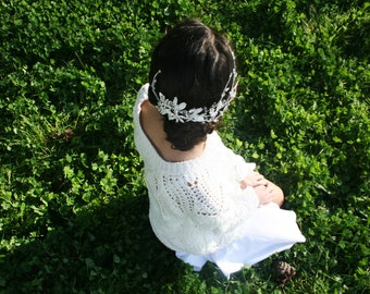 Crown-Circle Clip Silver Flowers and Leaves Floral Bridal Hairstyle Handmade