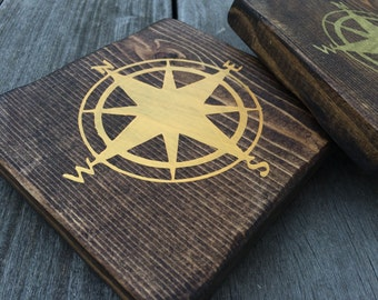 Compass Rose// Painted// Wooden Sign