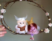 Needle felted fairy, Needle felted owl Waldorf inspired Art doll, Nursery mobile, Children room, Wool owl, Wool fairy, Gift, Wool doll Swing