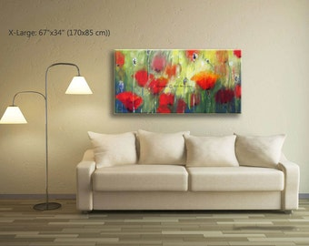 Painting Abstract, Abstract Wall Art Poppy Painting, Living Room Wall Art Poppy Flower, Poppy Living Room Art, Living Room Pictures