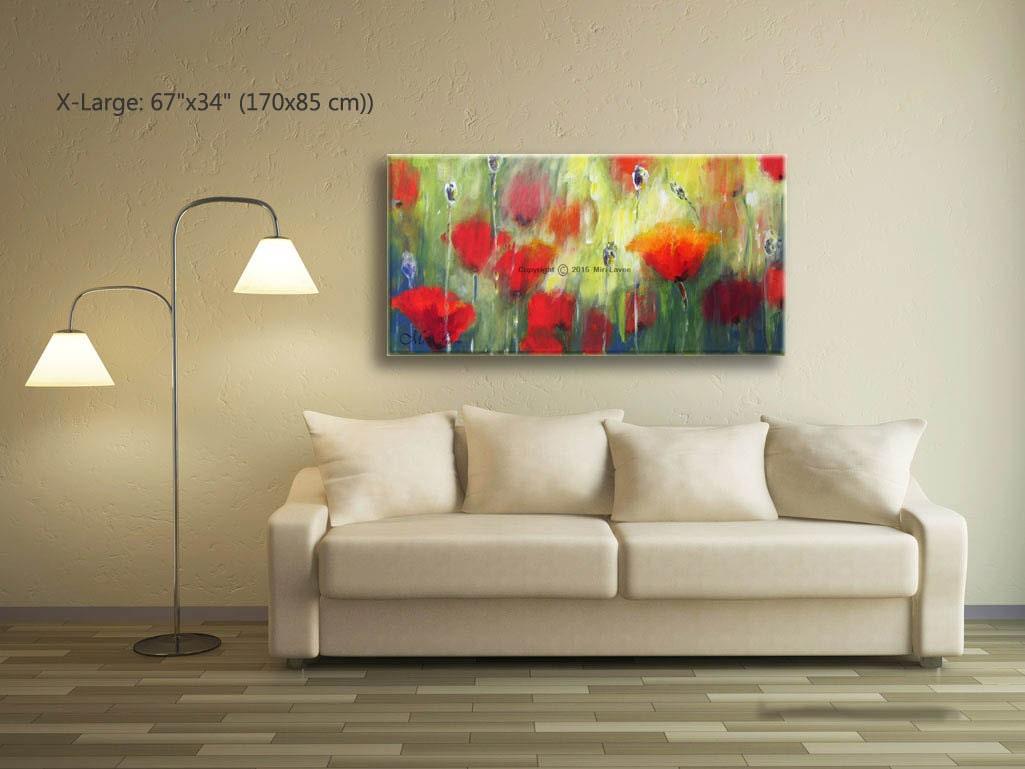 Abstrakte malerei wandmalerei kunst mohn wohnzimmer wand for Wand kunst wohnzimmer