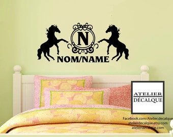 Wall decal no. E- 021 - Two horses with name of your child