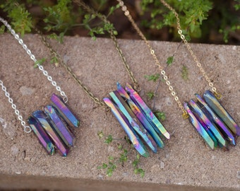 Quad Quartz Crystal Necklace | Rainbow Titanium
