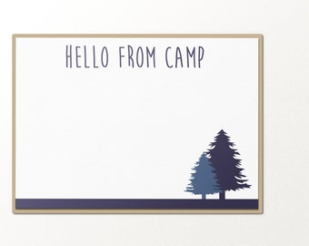 hello from camp custom personalized notecard name stationary set // personalized stationary // flat note card