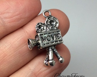4 Movie Projector  Charms- 25x17 mm - Antique Tibetan Silver Tone- 3D Charm-  Ref. 669