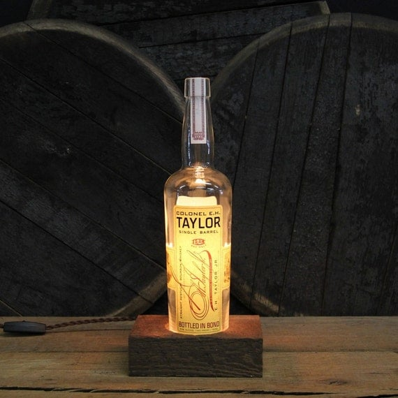 Colonel E.H. Taylor Single Barrel - Features Reclaimed Wood Base, Edison Bulb, Twisted Cloth Wire, In line Switch, And Plug, Upcycled Light