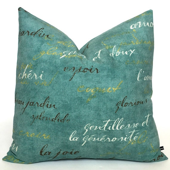 French script pillow cover Waverly words writing by FlossieandRay