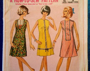"""Vintage 1966 """"how to sew"""" A-line shift dress sewing pattern - Simplicity 6879 - size 12 (32"""" bust, 25"""" waist, 34"""" hip) - 1960's"""