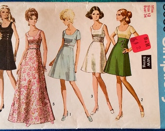 "Vintage 1969 dress sewing pattern - Simplicity 8539 - size 12 (34"" bust) - 1960's"