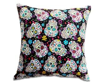 Skull Pillow Cover, Skull Cushion Cover, Frida Kahlo Cushion Cover, Gothic Home Decor, Gothic Cushion, Gothic Pillows, Black White Pillow