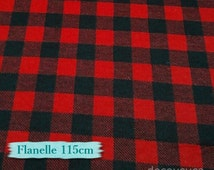 Flannel, Buffalo, plaid, red and black, fat quarter at mètre, many yards will be cut as one continuous piece, 100% Cotton