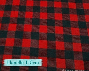 Flannel, Buffalo, plaid, red and black, many yards will be cut as one piece, Promo: 25ETSY45, voir détails