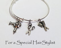 Hairdresser Gift, Hair Stylist Gift, Gift for Hair Stylist, Hair Dresser Gift, Jewelry, Adjustable Bangle Bracelet, Gift for Women, For Her