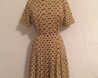 Vintage Yellow and Black Polka-Dot Dress