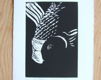 Hand print Linocut ''Le Souffle'' The Breath. To frame.