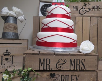 Personalised Rustic Wedding Cake Stand, Vintage Wedding Wooden Apple Crate Cake Stand