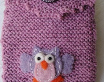pink reader cover, kindle cosy, knit e-reader case, wool reader cosy,owl kindle cosy,OOAK e-reader case,fun kindle cover,knitted reader case