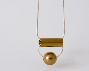 tube and solid ball brass necklace