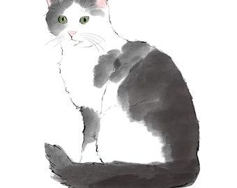 black and white cat, digital cat print, JPEG