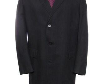 42-43R - Bruce Shelton/Abernethy's 1960's vintage black herringbone overcoat