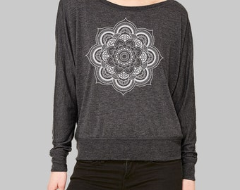 Long Sleeve Shirt, Mandala Shirt, dolman sleeve top, womens blouses, long sleeve tshirt, graphic tee women, plus size clothing