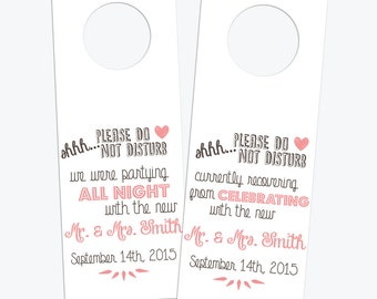 Wedding Door Knob Hanger Printable Custom // Please Do Not Disturb Hotel Door Knob Hanger