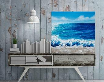 "Beach painting, Seascape Ocean Palette knife Waves, Acrylic Abstract, Impasto Textured painting, California beach, Modern wall art, 20""."
