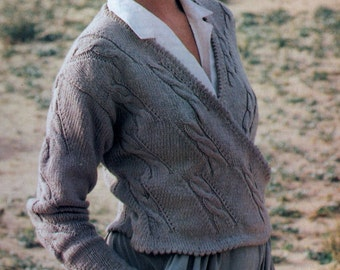 Instant Digital Download PDF Vintage Chart Knitting Pattern Ladies Long Sleeve Broken Cable Wrapover Crossover Cardigan Jacket Bust 32-34 DK