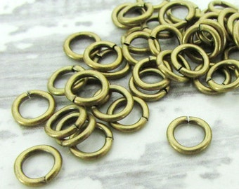 100pcs, 6mm Brass Jump Rings, 18ga, Oxidized Brass Jump Rings, Antique Gold Jumprings, Connectors, Round Jump Rings, Open Jumprings
