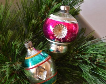Vintage Double Indent Striped Christmas Ornaments