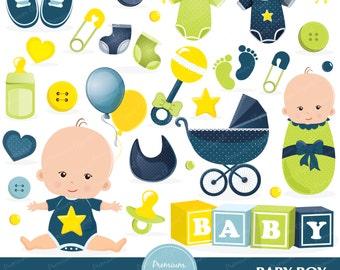 Baby boy shower clipart, baby shower, baby boy clip art, newborn clipart, digital images - CA380