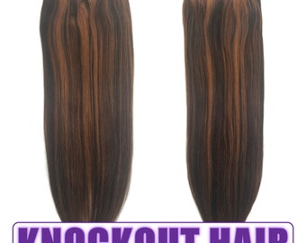 "Fits like a Halo Hair Extensions 20"" Dark Brown/Light Warm Brown (#2/#6) - Human No Clip In Flip In Couture by Knockout Hair"