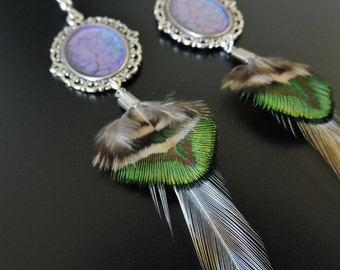Earrings feather rooster and Peacock / Rooster and peacock feathers earrings