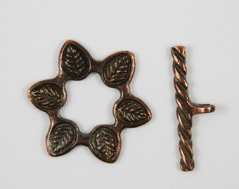 SALE!!! 9/1 MADE in EUROPE large flower toggle clasp, 33mm copper toggle clasp (X5454ABAC) Qty1