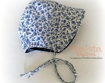Blue Floral Baby Bonnet - Summer Baby Bonnet -  Baby Sun Bonnet - Baby Sun Hat - Baby Shower GIft - Blue Polka Dots-Reversible Baby Bonnet